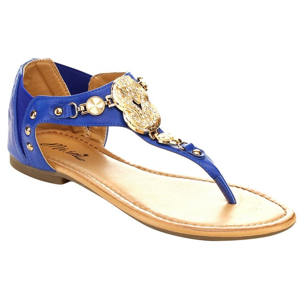 Miim Jin-02 Women's Big Medallion/ Gem Elastic Casual Sandals