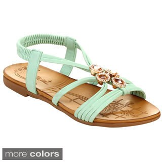 Miim Blossom-06 Women's Multi Strap Pretty Gem Insole Sandals