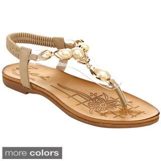 Miim Blossom-04 Women's Pearl T-Strap Sandals