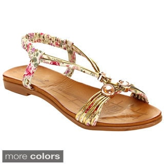Miim Blossom-03 Women's Adjustable Rhinestone Strap Dress Flat Sandals