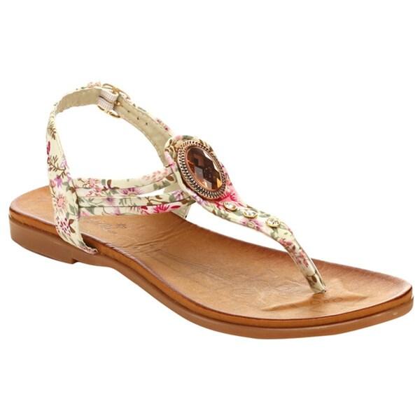 Miim Blossom-01 Women's T-Strap Big Stone Ankle Buckle Sandal