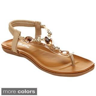 Miim Berry-01 Women's T-Strap Slingback Strap Flat Sandals