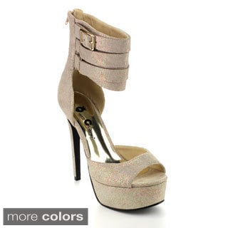 Queen Chateau MOLLY-3 Women's Mutil Ankle Straps Glitter Upper Stiletto Heel