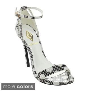 Athena BRINA-3 Women's Ankle Strap Polka Dots Stilettos