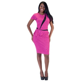 Kayla Collection Women's Two-tone Peplum Rhinestone Dress