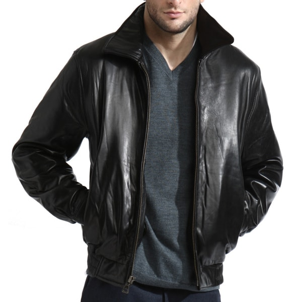Tanners Avenue Black Lambskin Leather Bomber Jacket