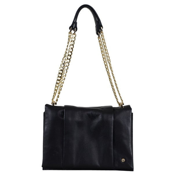 Halston Leather Chain-handle Shoulder Bag