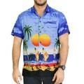 La Leela Dark Blue Coconut Tree Aloha Surf Beach Hawaiian Shirt For Men's Swim Camp