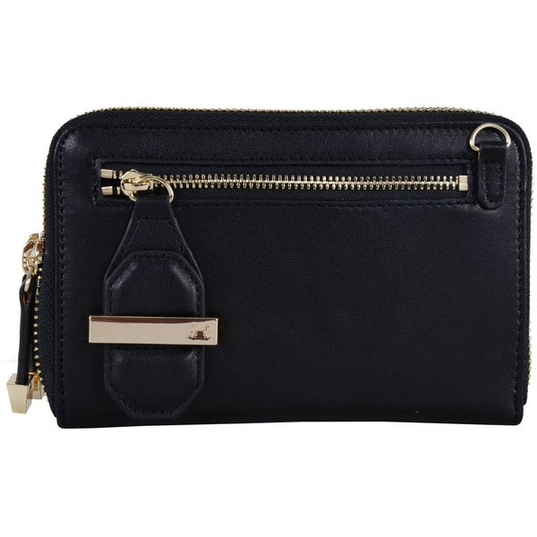 Halston Mini Double Zipper Clutch with Chain Strap