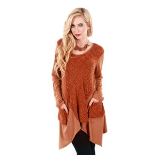 Firmiana Women's Long Sleeve Copper Two Pocket Front Tunic with Sidetail