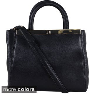 Halston Mini Smooth and Pebbled Leather Structured Satchel