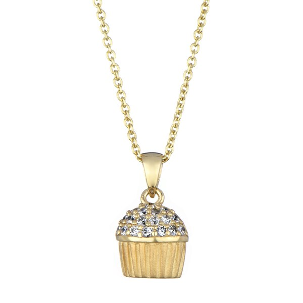 Sterling Silver CZ Pave cupcake Necklace