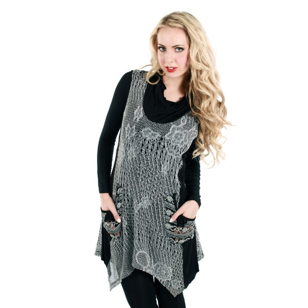 Firmiana Women's Long Sleeve Black/ Grey Crochet Cowl Neck Top