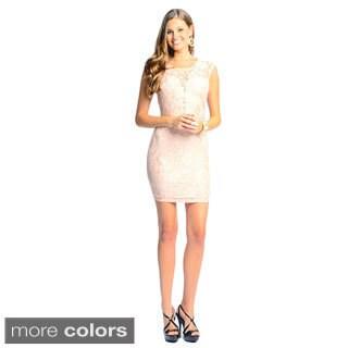 Sara Boo Women's Deep V-Neck Lace Dress