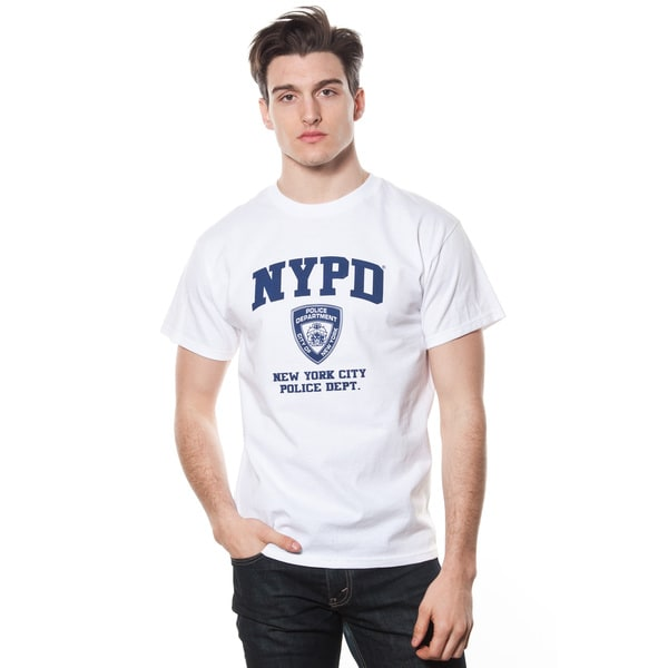 Adult White NYPD Navy Print Tee