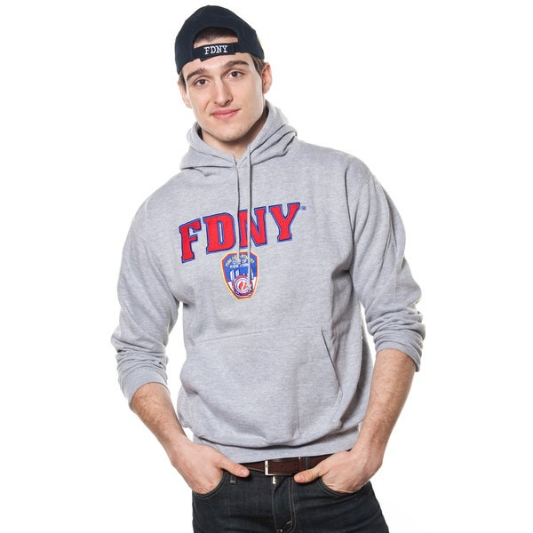 FDNY Adult Grey Pullover Hoodie with Embroidered Applique Design