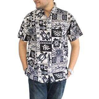 La Leela Likre Black and White Tropical Printed Hawaiian Beach Shirt For Men's Swim Camp