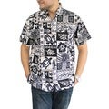 La Leela Likre Black and White Tropical Printed Hawaiian Beach Shirt For Men's Swim Camp
