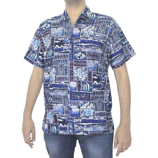 La Leela Likre Mens' Blue Tropical Printed Beach Swim Camp Hawaiian Shirt