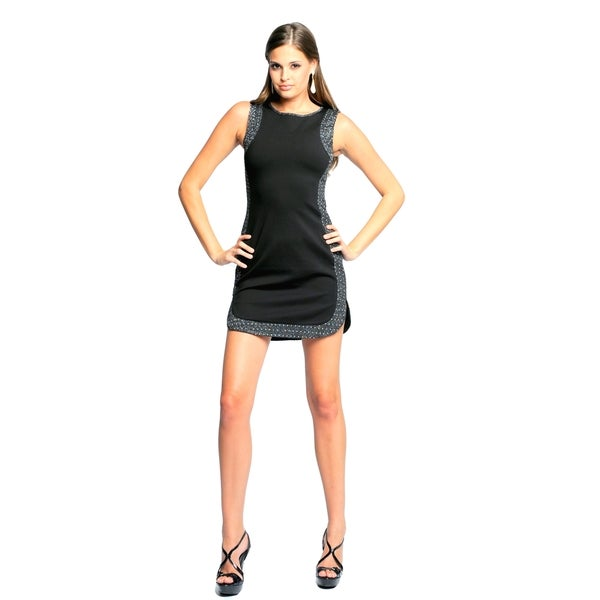 Sara Boo Women's Sleeveless Embellished Edges Dress