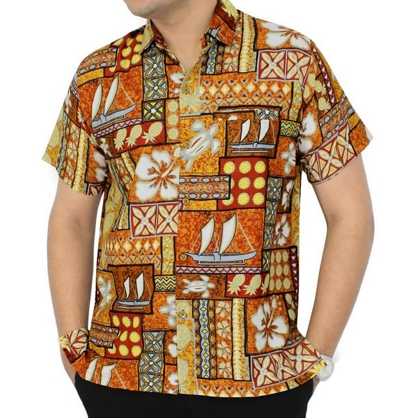 La Leela Brown Men's Tropical Printed Aloha Beach Hawaiian Swim Shirt Camp