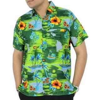 La Leela Green HAWAII PARADISE Printed Beach Swim Camp Hawaiian Shirt For Men's Camp