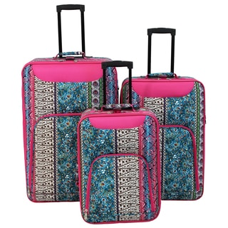 World Traveler Vogue Collection Boho Expandable 3-Piece Wheeled Upright Luggage Set