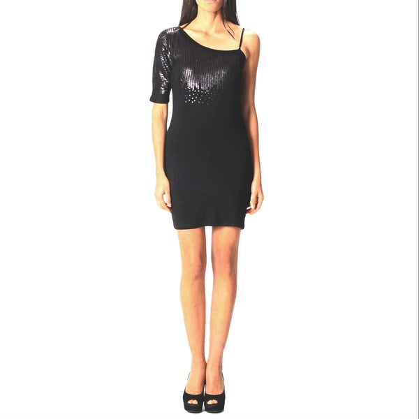 Sara Boo One Shoulder Sequin Mini Dress