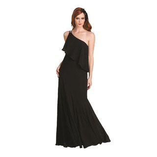 Bari Jay Women's Chiffon Angled Ruffle One Shoulder Evening Dress