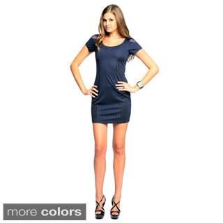 Sara Boo Women's Short Sleeve Embellished Sides Dress