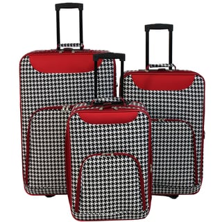 World Traveler Vogue Collection 3-piece Red Houndstooth Wheeled Upright Luggage Set