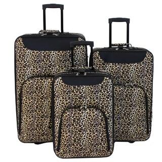 World Traveler Vogue 3-Piece Leopard Print Rolling Upright Luggage Set