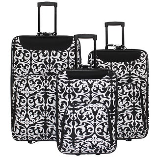 World Traveler Vogue Collection 3-piece Black/ White Damask Wheeled Upright Luggage Set