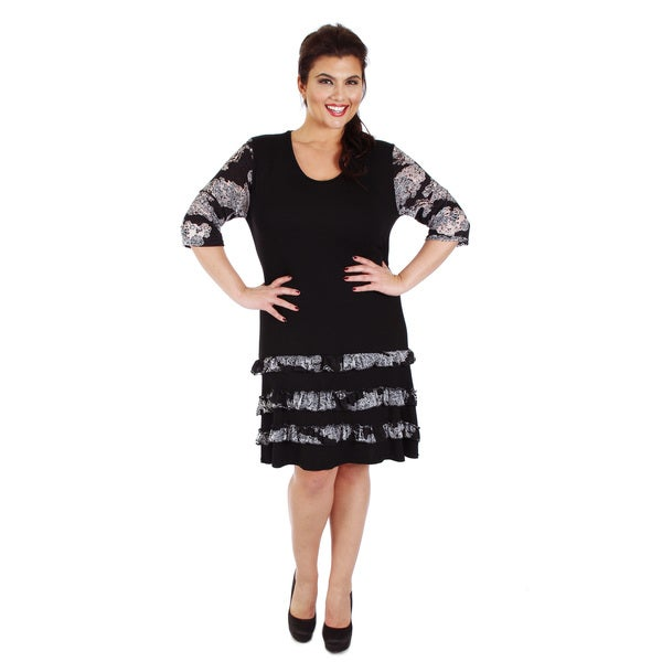 Firmiana Women's Plus Size Black and Grey Tiered Ruffle Dress