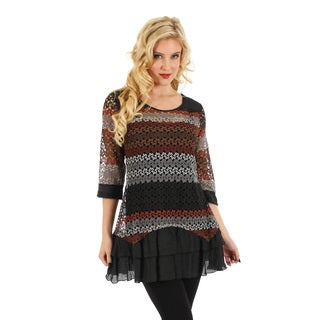 Firmiana Women's Black and Brown Crocheted Top with Ruffles
