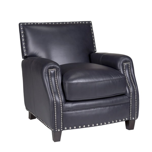 Verona Navy Madrid Leather Press Back Chair