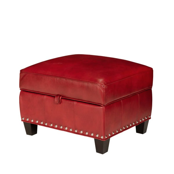 Santiago Red Madrid Leather Storage Ottoman