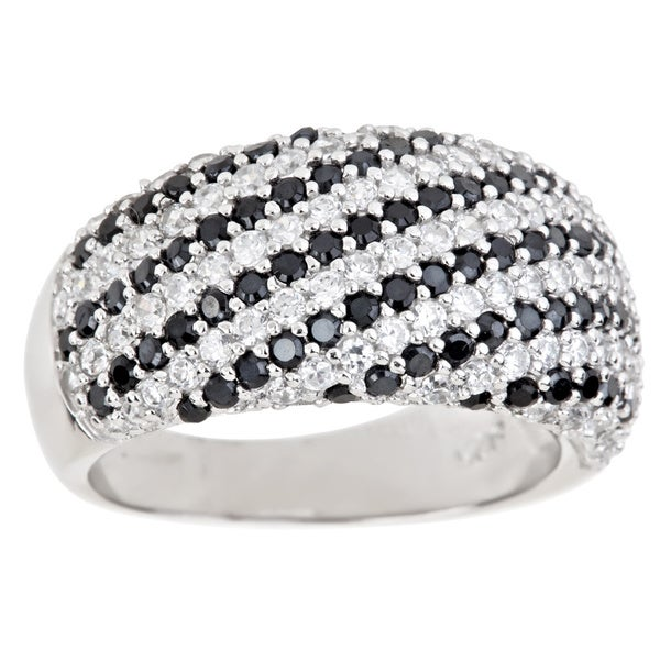 Sterling Silver Black and White Cubic Zirconia Stripe Ring