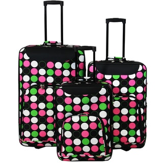 World Traveler Vogue Collection Polka Dot Expandable 3-piece Wheeled Upright Luggage Set