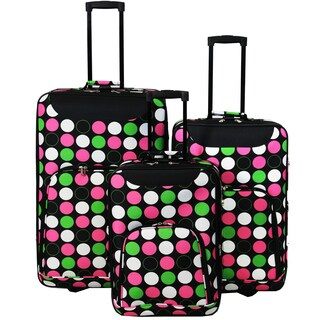 World Traveler Vogue Polka Dot Expandable 3-piece Rolling Upright Luggage Set