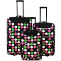 World Traveler Vogue Polka Dot Expandable 3-piece Rolling Upright Luggage Set