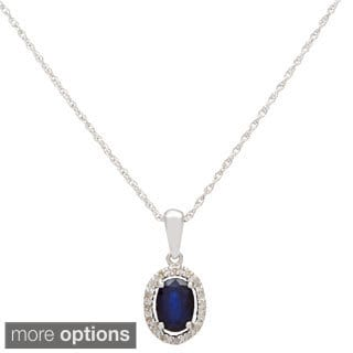 Viducci 10k White Gold 1/10ct TDW Diamond and Gemstone Pendant Necklace (G-H, I1-I2)