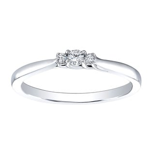 Sterling Silver Diamond Accent 3-stone Promise Ring