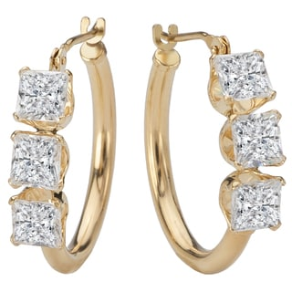 Avanti 14k Yellow Gold Cubic Zirconia Three-stone Hoop Earrings