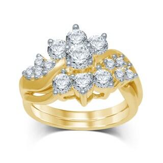 Unending Love 14k Yellow Gold 2ct TDW Diamond Flower Bridal Ring