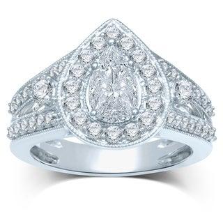 14k White Gold 1 1/2ct TDW Diamond Teardrop Setting Engagement Ring (G-H, SI3)
