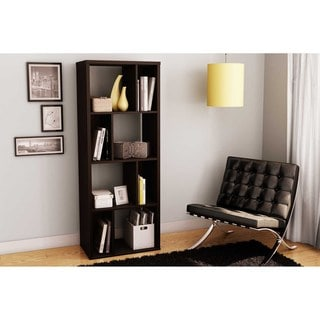 South Shore Reveal Chocolate Brown Shelving Unit with 4 Open/ 4 Closed Shelves