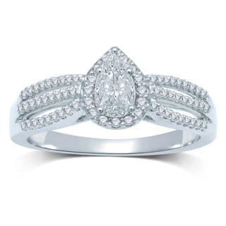 14k White Gold 1/2ct TDW Diamond Pear-cut Split Shank Engagement Ring (G-H, SI3)