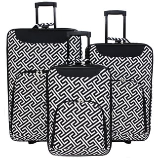 World Traveler Vogue Geometric Expandable 3-Piece Rolling Upright Luggage Set