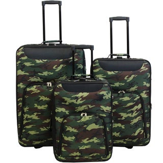 World Traveler Vogue Collection Camo Expandable 3-piece Wheeled Upright Luggage Set